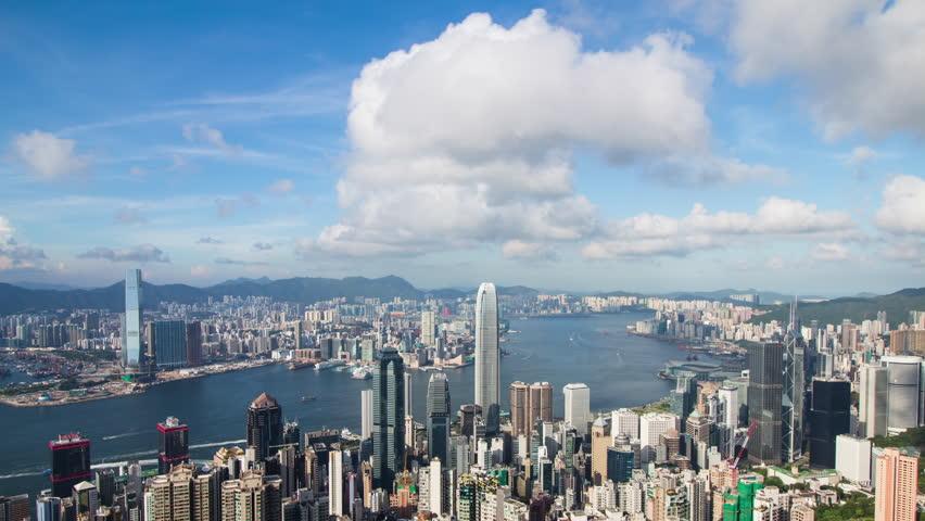 Hong Kong skyline with clear blue sky | Shutterstock HD Video #30260113