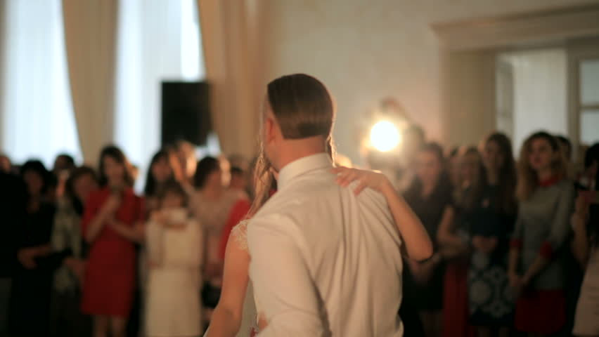 First wedding dance of a young beautiful married couple in love in restaurant. wedding day | Shutterstock HD Video #30274222