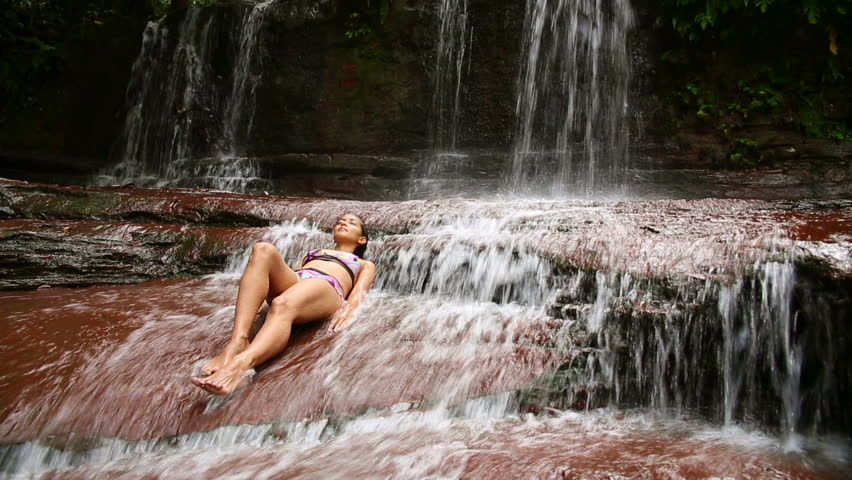 Sexy Girl With Bikini Lying Down In Waterfall River On A -5480
