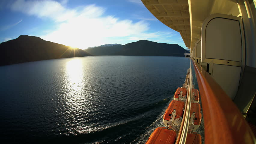 View of Cruise Ship at sunrise scenic beauty from balcony of Norwegian Fjords snow capped mountains Sognefjorden Fjord Scandinavia Europe | Shutterstock HD Video #30461371