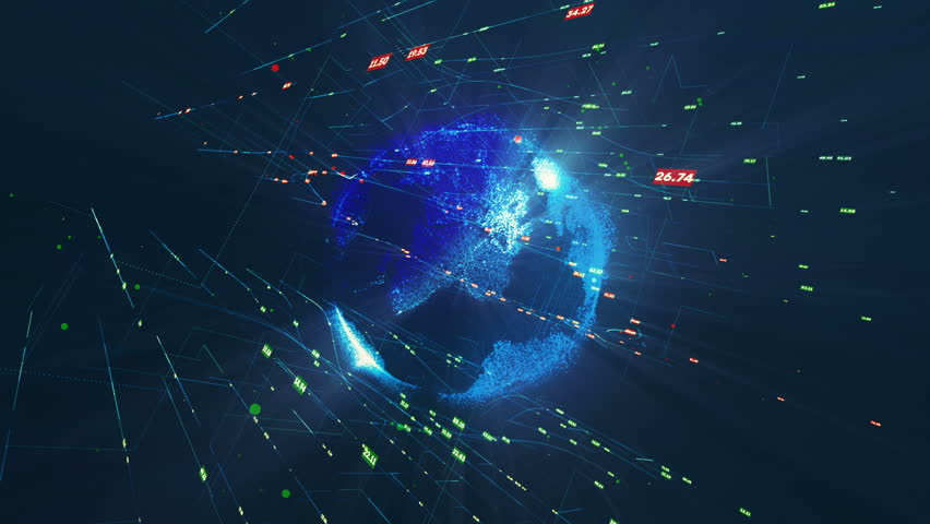 Trends and analytics. Rotating earth with dice. motion background. | Shutterstock HD Video #30524080