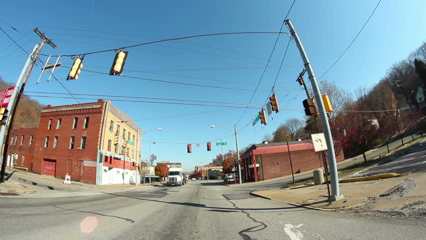 Time lapse shot of driving through the former steel town of Aliquippa, about 18