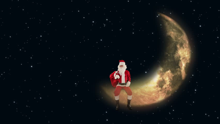 Santa Claus sitting on Moon and waiting for Reindeer, twinkling stars