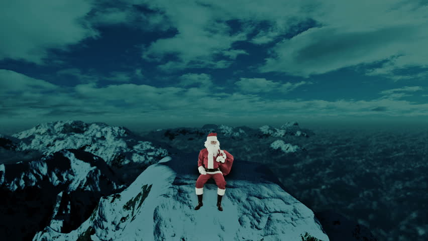 Santa Claus on top of Snowy Mountain looking for the Reindeer