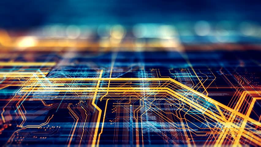 Circuit board futuristic server code processing....