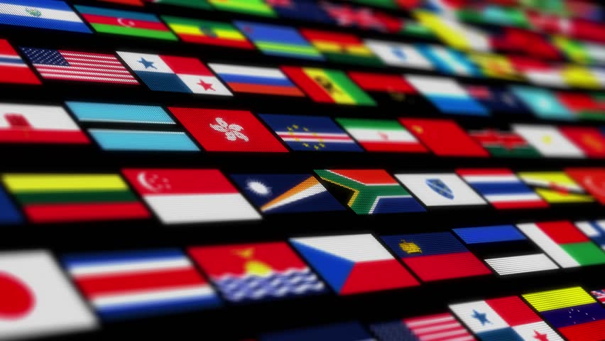 The camera flies through a flag on black background. Several flags clusters fly past, and flags of different countries can be seen in the middle. Computer animated. 3d render.