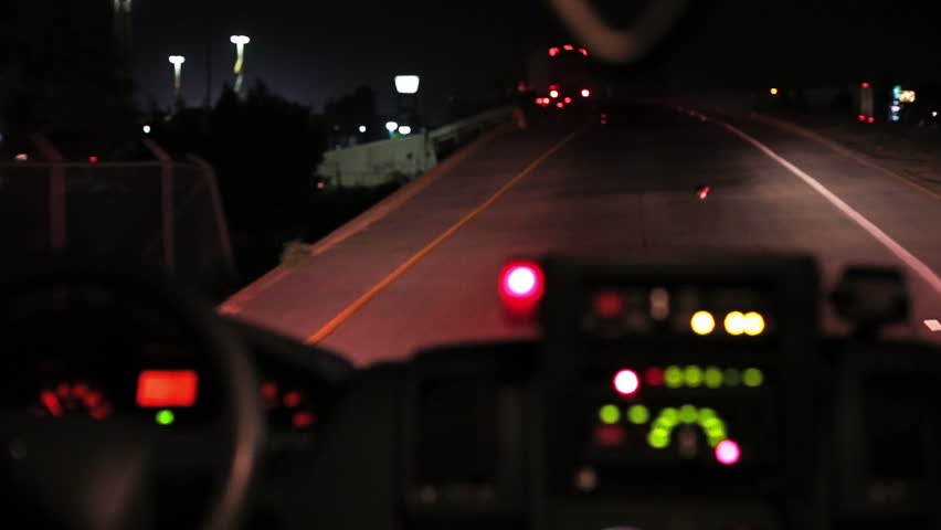 Inside of ambulance when have a call of emergency by night on highway