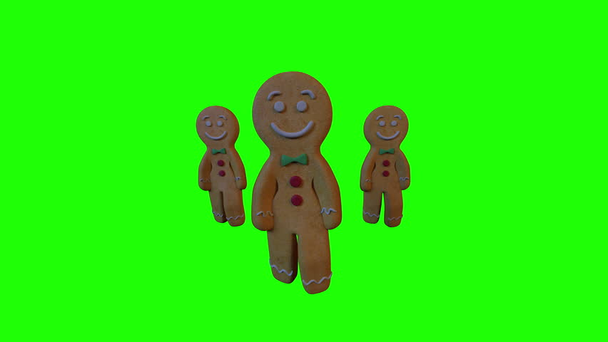 Gingerbread Dancers 3D animation of funny, hot and sweet cookie boys dancing for holiday and kid event, show, VJ, party, music, website, banner, dvd. Green background