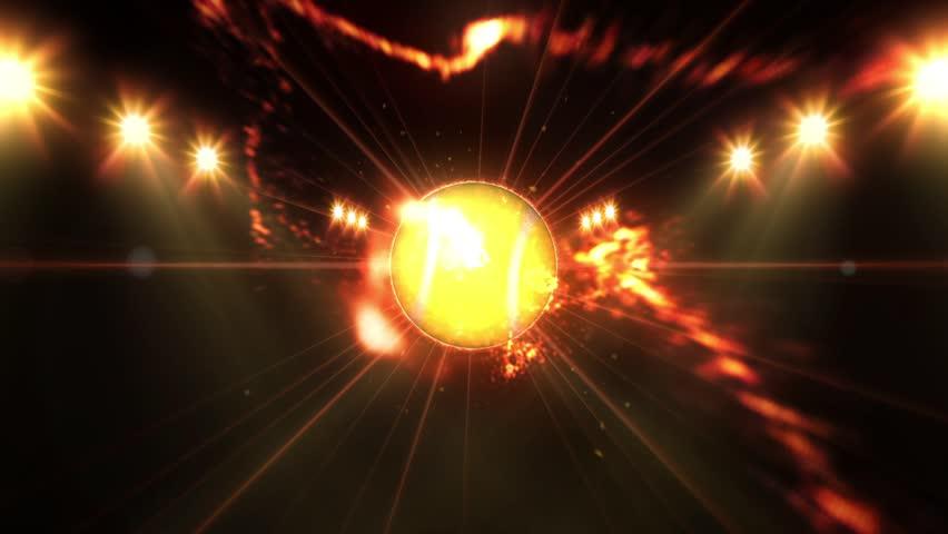 Tennis ball, Illuminated bright orange color spotlights, In night scene