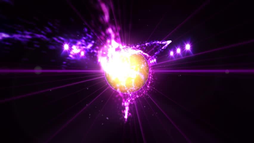 Tennis ball, Illuminated bright purple color spotlights, In night scene