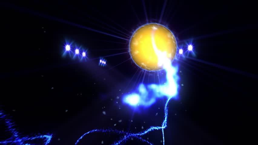 Tennis ball, Illuminated bright blue color spotlights, In night scene