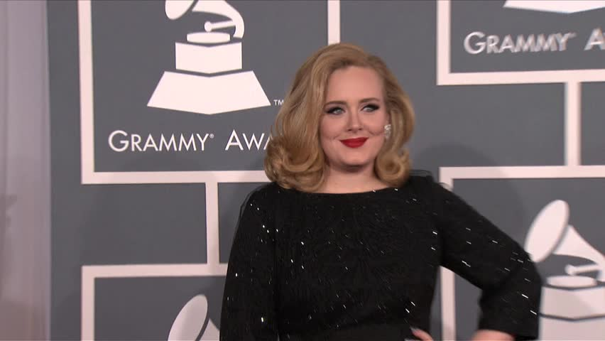 Los Angeles, CA - FEBRUARY 12, 2012: Adele, walks the red carpet at the Grammy Awards 2012 held at the Staples Center