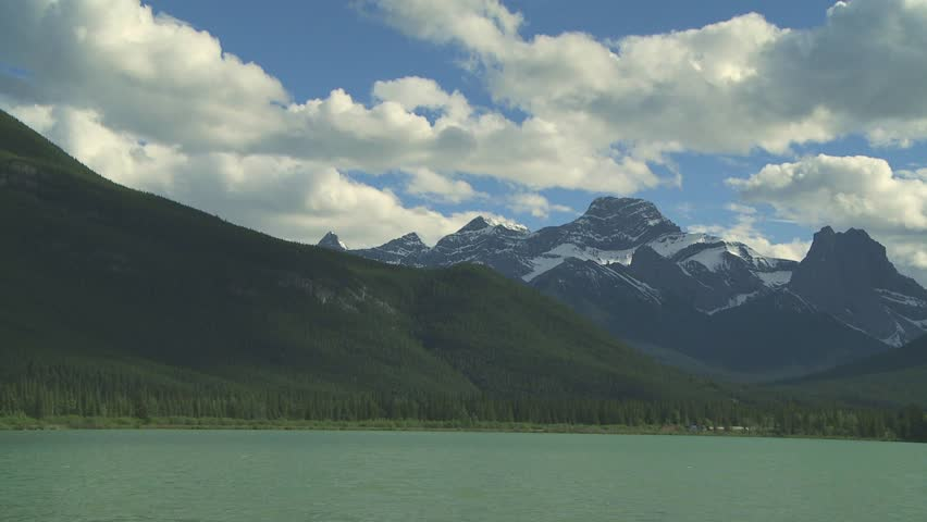 Freight train in the Canadian Rocky Mountains