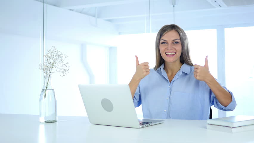 Thumbs Up Gesture by Woman at Her Work | Shutterstock HD Video #30969319