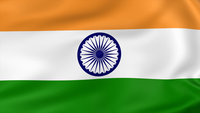 Indian Flag Animated: Indian Flag, With Real Structure Of A Fabric Stock Footage