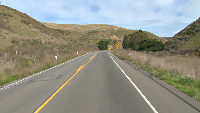 Driving plate - POV shot leaving (southbound) on Highway 1 in California south