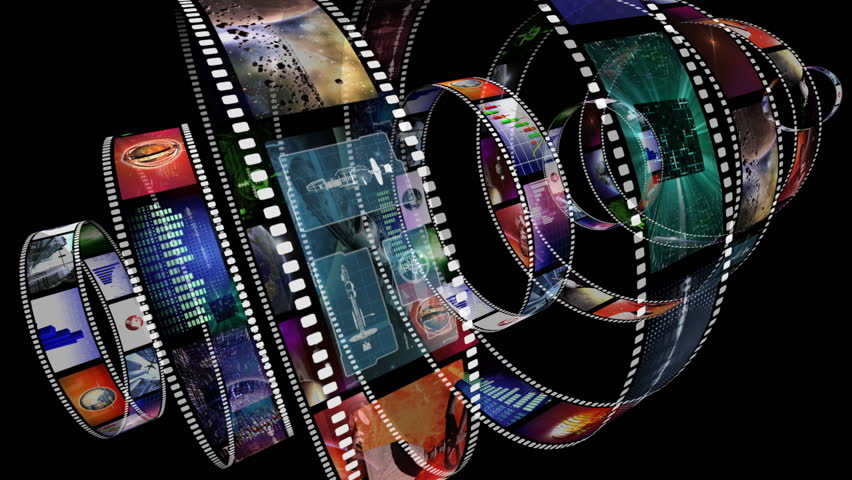 Loop-able animation of rotating film reels with a variety of clips