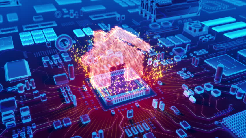 Futuristic animation of holographic house icon emerging from microprocessor on electronic circuit board   Shutterstock HD Video #31091527