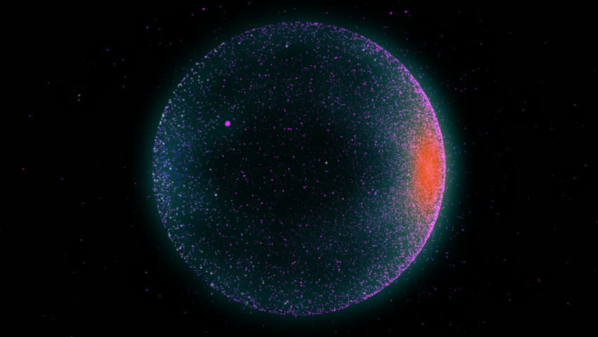 Abstract animation of blending spheres with glowing particles on black background.