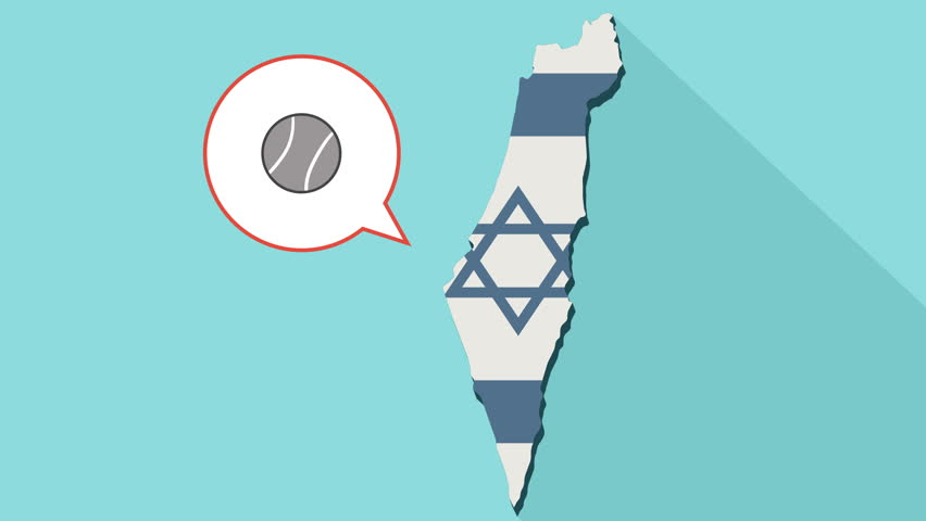 Animation of a long shadow Israel map with its flag and a comic balloon with a tennis ball