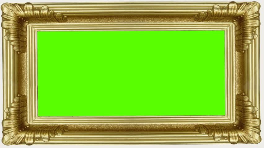 golden frame with green screen for your art digital animation