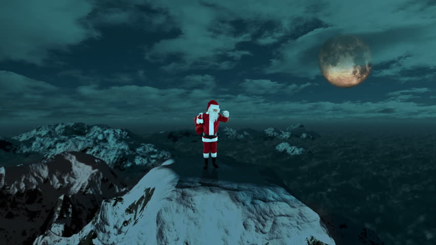 Santa Claus on Top of the Mountain looking for the Reindeers