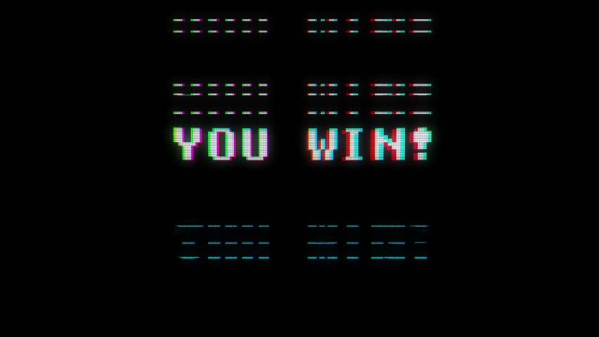 retro videogame you win text words on old tv glitch interference screen ... New quality universal vintage motion dynamic animated background colorful joyful cool video footage
