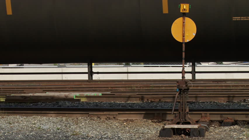 WHITTIER, AK - CIRCA 2012: Close shot of a freight train as it is moved back and