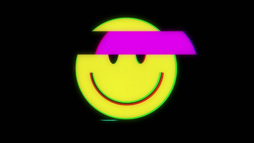 Smile hud holographic symbol on digital old tv screen seamless loop glitch interference animation new dynamic retro joyful colorful retro vintage video footage | Shutterstock Video #31311238