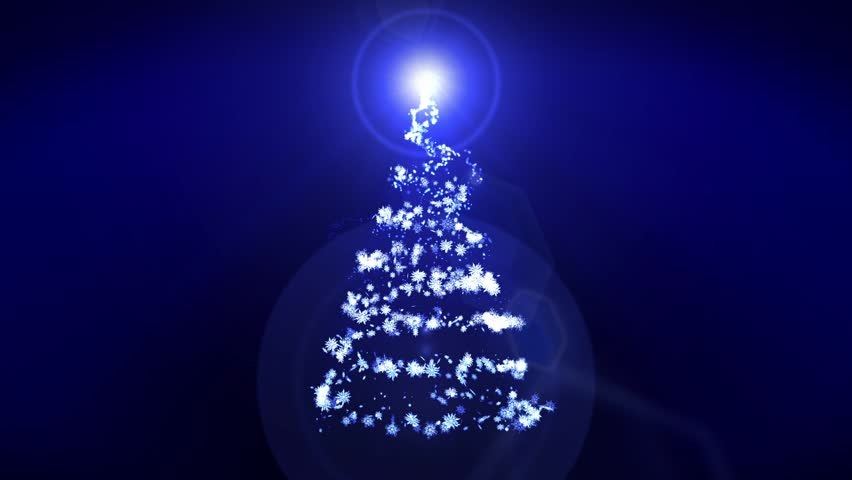New Year's Snow Christmas Tree, Christmas Illumination Blue Background, Loop | Shutterstock HD Video #31340710