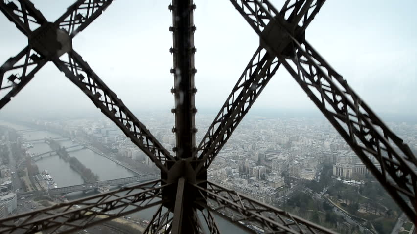 Wonderful view of Paris from moving Eiffel Tower Lift   Shutterstock HD Video #3141631