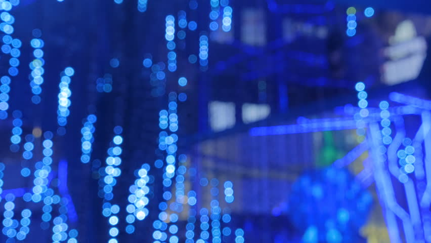 Abstract defocused blue lighting bokeh at futuristic modern technology exhibition | Shutterstock HD Video #31461520