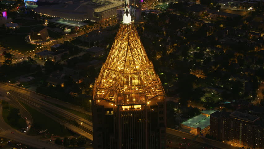 Atlanta, Georgia circa-2017, Closeup aerial view of the Bank of America Plaza building in Atlanta at night. Shot with Cineflex and RED Epic-W Helium.