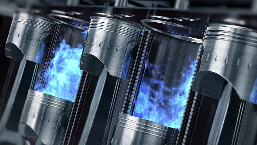 A close-up of engine in slow motion with a blue explosions of fuel. Beautiful 3d animation (4K,ultra high definition 2160p)