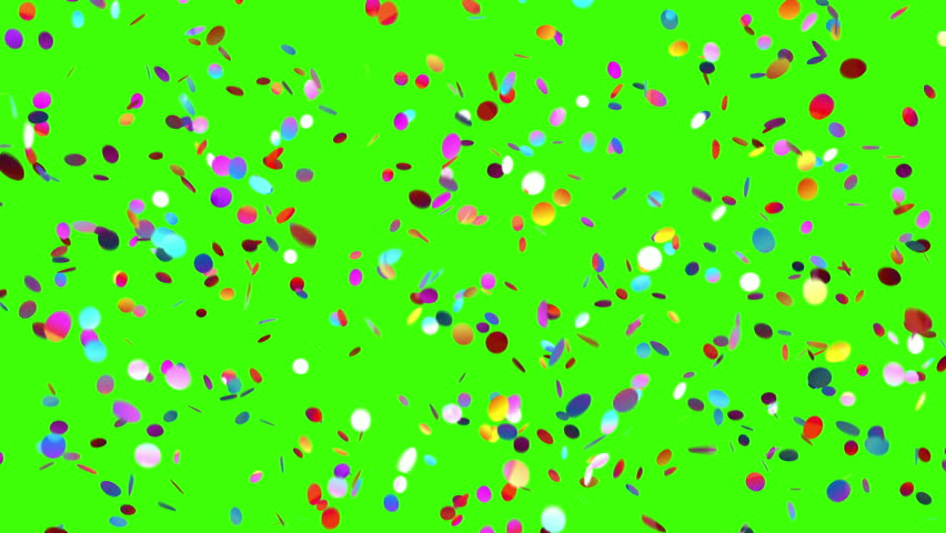 Confetti Falls on a Green Background, Looped 3d Animation, 4K.