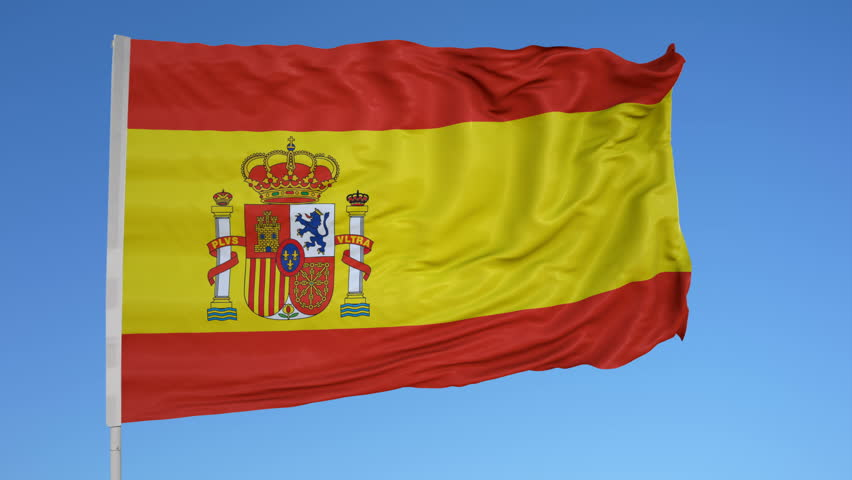 Looping flag for Spain on flag pole, blowing beautifully in the wind. Includes alpha matte.