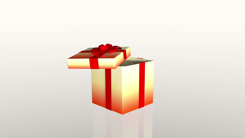 Gift box opening lid to present a virtual product, against white