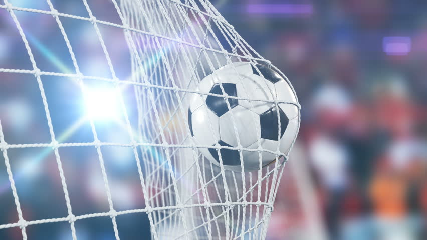 Beautiful Soccer Slow Motion Concept of the Ball flying into Goal Net. 3d animation Close up Sport Concept. 4k UHD 3840x2160.