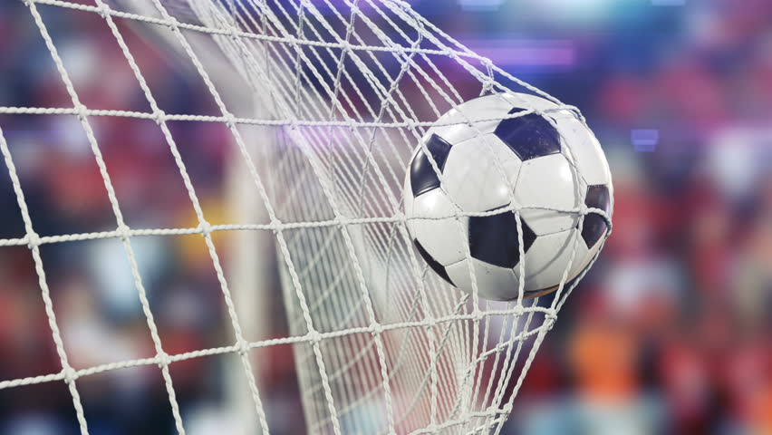 Beautiful Soccer Ball flies into Goal Net in Slow Motion. Football 3d animation of the Goal Moment. 4k Ultra HD 3840x2160.