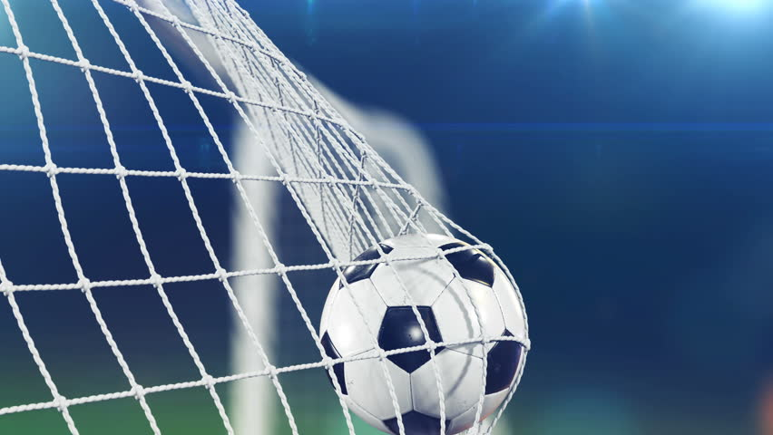 Slow Motion 3d animation of Soccer Ball flying in Goal Net. Beautiful Football Close up Sport Concept. 4k UHD 3840x2160.