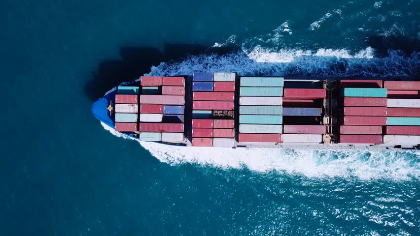 Large container ship at sea - Top down Aerial footage | Shutterstock HD Video #31963591
