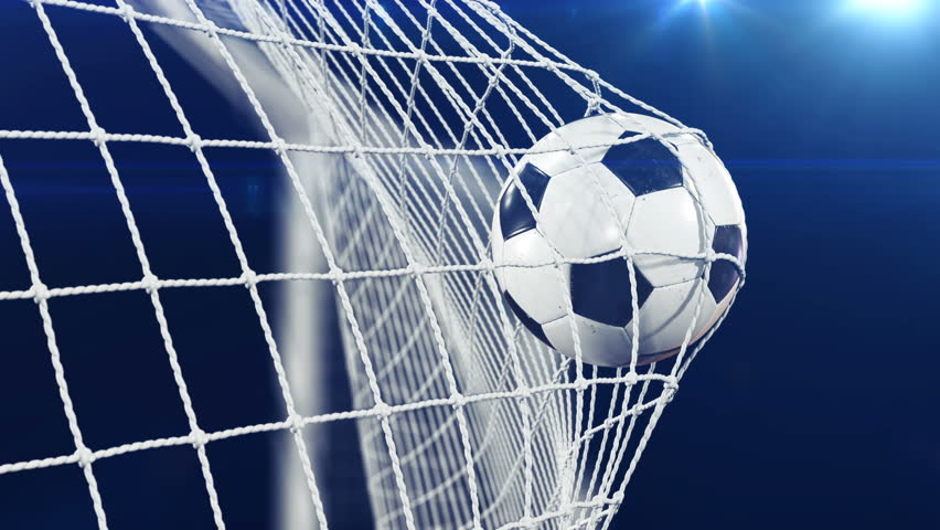Soccer Ball flying in Goal Net in Slow Motion. Black Background and Flares. Sport Concept. Beautiful Football 3d animation of the Goal Moment. 4k Ultra HD 3840x2160.   Shutterstock HD Video #31968211