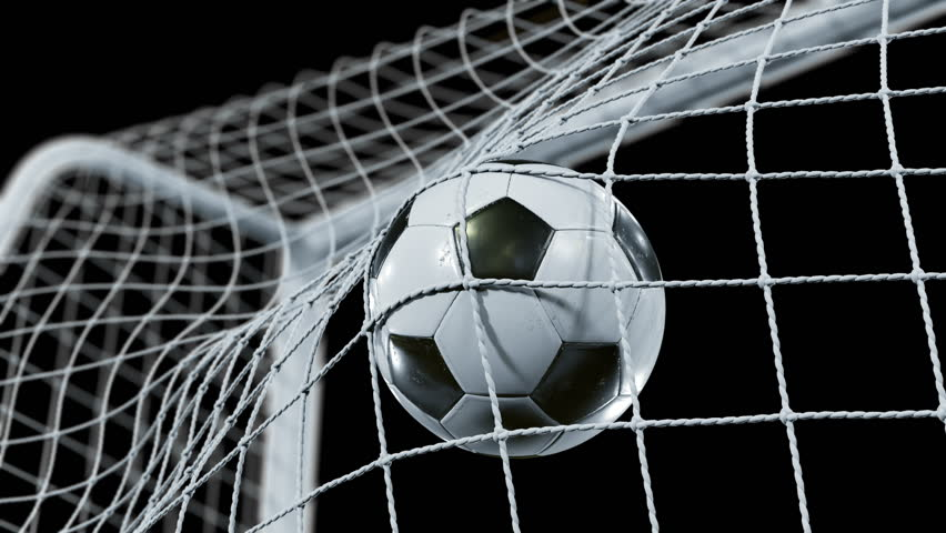 Soccer Ball flying into the Goal Net in Slow Motion. Beautiful Football 3d animation of the Goal Moment. Alpha channel Green Screen. 4k Ultra HD 3840x2160.   Shutterstock HD Video #31968214