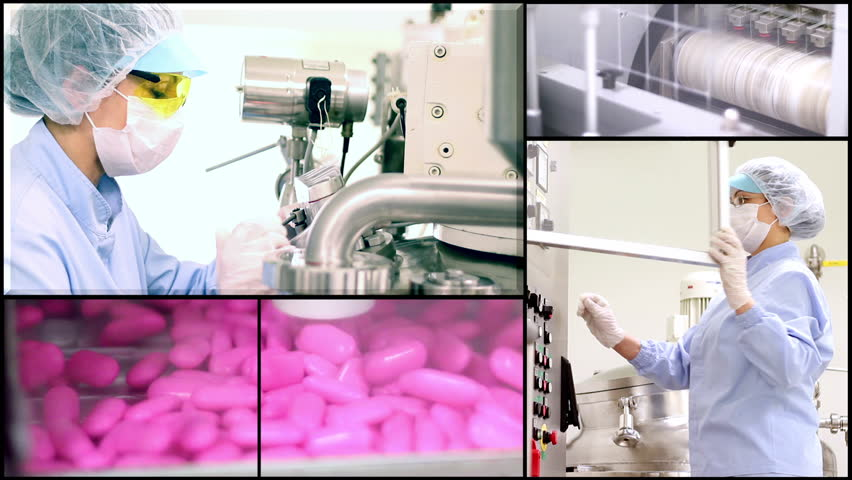 Pill manufacturing montage. Pharmaceutical Industry. Industrial Equipment. Pharmaceutical Worker. Medicine Production. #3205768