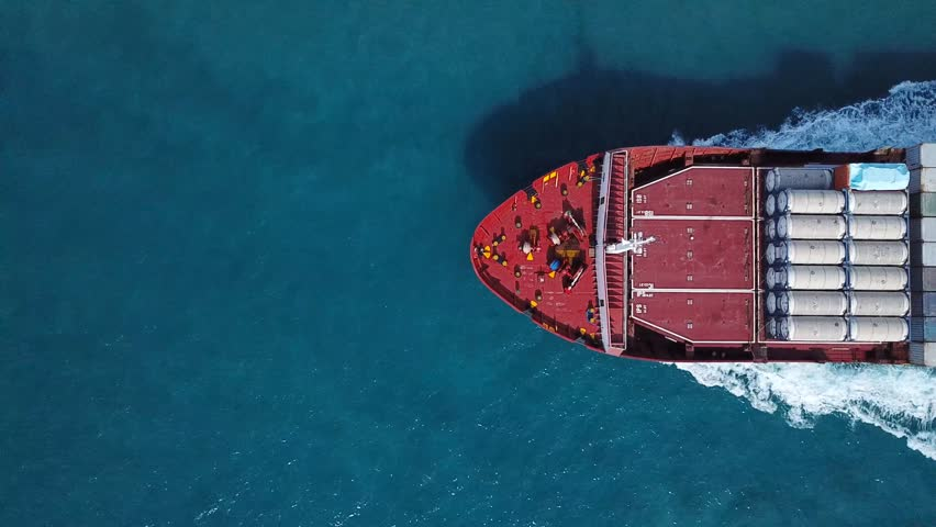 Large container ship at sea - Top down Aerial  | Shutterstock HD Video #32074801