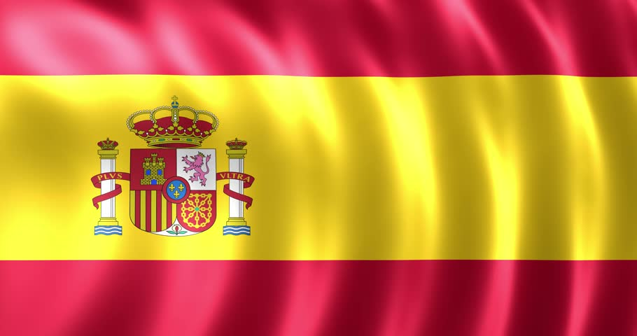 realistic satin flag of spain animated 3d rendering of spanish banner waving and streaming in the wind in 4k 60p