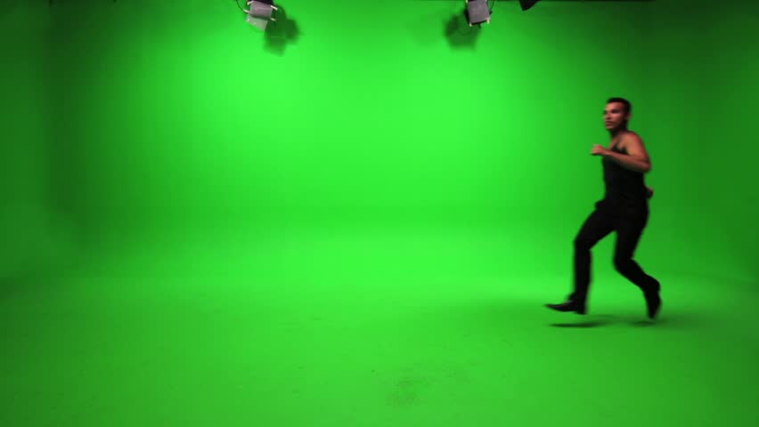man running and stopping. green screen background. male person people. stop and go