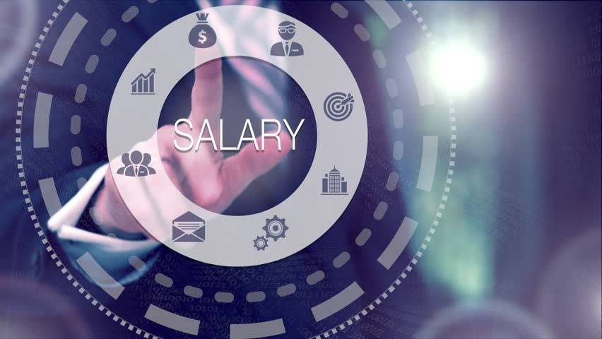 Businessman selecting and then pressing a Salary button on a clear projection screen   Shutterstock HD Video #32215237