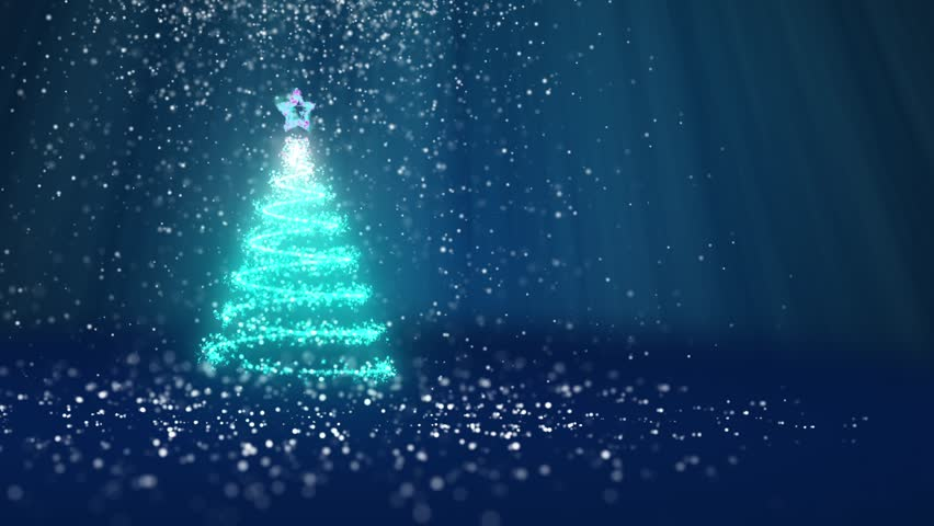 Christmas tree from glow shiny particles on the left in wide angle shot. Winter theme for Xmas or New Year background with copy space. Blue 3d Xmas tree V1 with snow DOF light rays rotating space | Shutterstock HD Video #32274658