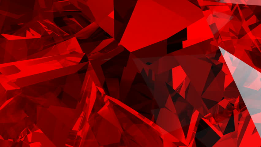 Red abstract animated background screen saver with imitation of glass fragments in a volumetric structure